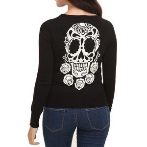 TEENAGE RUNAWAY Black Glitter Sugar Skull Cardigan
